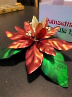 Vintage DEPARTMENT 56 Christmas Poinsettia Taper Metal Candle Holder W/ Box