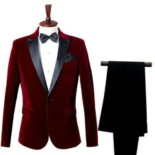 Mens Velvet Suit Jacket and Pants Set Groom Wedding Prom Party Dress Costume SPW
