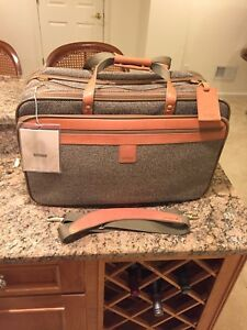 Hartmann Walnut Tweed Leather Garment Bag Carry On Triple Compartment Nos!