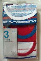 Boys 3 pack Red / White / Blue Primark Vests