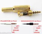1pc Gold 3.5mm 4 Pole Male Repair headphone Metal Audio Soldering & Spring plug