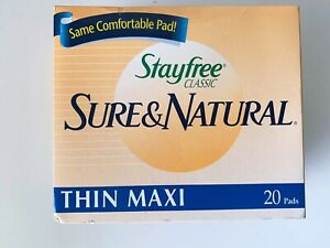 Stayfree Classic Sure And Natural Thin Maxi 20 Pads New Old Stock 1995 Vintage