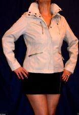 Women Casual Beige Jacket Zipped Studs High Neck Denim Size 12