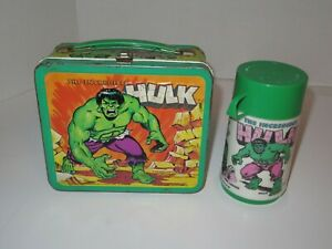 Vintage 1978 The Incredible Hulk Metal Lunch Box with Thermos-Aladdin Industries