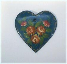 CRAFTS Hand Painted Blue Floral Wooden Heart Pendant Flat Back ~ Made in Russia