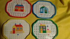 Vintage Set Of 4 Home N' Heart Snack Trays new in box red yellow green blue