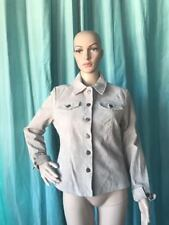 Beige Suede Leather Jacket / Coat - Riveted Antique Brass Color Metal Buttons S
