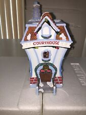 """DISNEY CHRISTMAS VILLAGE TOONTOWN LIGHTED HOUSE """"THE COURT HOUSE"""" EUC With Box"""