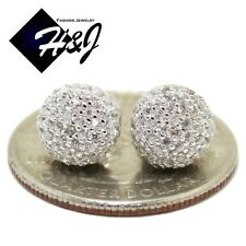 MEN WOMEN 925 STERLING SILVER ROUND 8MM LAB DIAMOND BLING 3D STUD EARRING*E30