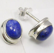 """925 Sterling Silver NAVY BLUE LAPIS LAZULI RICHFEEL Studs Earrings 0.5"""" NEW"""