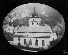 Glass Magic lantern slide GRINDELWALD PARISH CHURCH C1890 SWITZERLAND