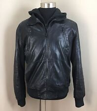 GUESS Men's Black Media Bomber Faux Leather Jacket Coat (SIZE LARGE)
