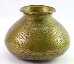 Antique Indian Tradition Brass Pot Hand Engraved Design Water Storage. G56-66 US