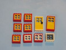 LEGO lot Windows Door Frames Thick White Yellow Red House Modular Pieces