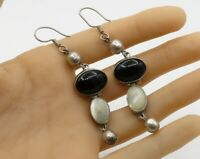 MEXICO 925 Sterling Silver - Vintage White Opal & Black Onyx Earrings - E1578