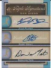 2012 MLB Baseball Sp Triple Signatures Edition UD #SD12 BLANKS KELLY TATE