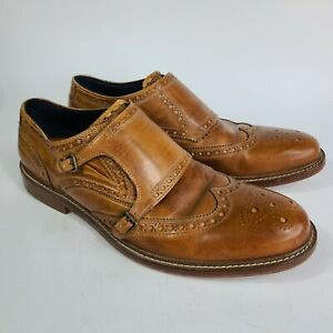 Cole Haan Mens Size 13 Light Brown Wingtip Double Buckle Dress Shoe