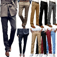 Men's Slim Fit Straight Leg Cotton Trousers Casual Formal Business Work Pants