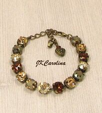 BROWN Cup Chain Bracelet,TOASTED ALMOND, made w/ SMOKED TOPAZ Swarovski CrystalS