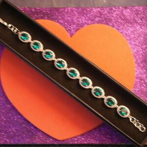 """Stunning Rich Blue Aquamarine & CZ Silver Bracelet 12.9 Gr. 7.0-8.0""""Inc. In Box"""