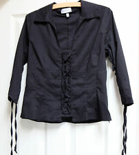 STEILMAN BLACK 3/4 SLEEVED LACE-UP BLOUSE 14