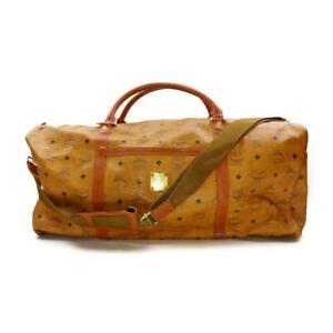 MCM XL Cognac Monogram Visetos Boston Duffle Bag with Strap 863473