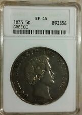 Greece 5 Drachmai, 1833 King Otto, Anacs XF 45, Silver... All Original.