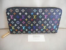 AUTHENTIC LOUIS VUITTON BLACK MULTICOLORE ZIPPY WALLET CLUTCH