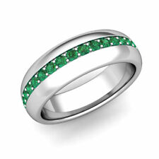 10K Solid White Gold Natural Emerald Gem Stone Men's Band Ring Jewelry