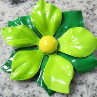 """HUGE Vintage Flower Power Brooch Enamel Metal Green Yellow 3.5"""""""