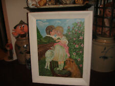 Interesting Victorian Style Oil Painting-Boy Kissing Girl W/Dog-Signed Lokiec