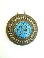 Afghan Turquoise Inlaid Deer Engraved Intaglio Pendant Alpaca Silver Round Shape