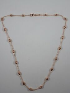 """LINKS OF LONDON 925 STERLING SILVER ROSE GOLD VERMEIL BEADED CHAIN 17"""" NECKLACE"""