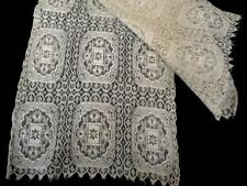 Antique Lace Runner or Scarf Shawl in Ivory or Tea Color Tulle Lace Edwardian