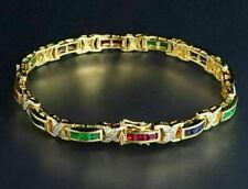 "Ruby 6.5"" Tennis Bracelet 14K Yellow Gold Over Diamond Square Emerald, Sapphire"