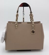 NWT MICHAEL Michael Kors Cynthia Brown Saffiano Leather Satchel Crossbody Bag