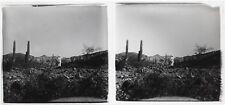 Afrique Paysage volcanique Photo Plaque de verre Stereo Vintage