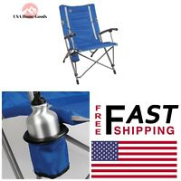 Coleman © Blue Interlock Quad Chair W/Swivel Cup Holder Portable Camping Seat