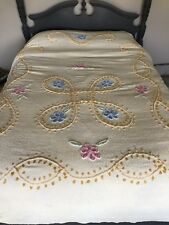 Vintage Chenille Yellow Bedspread/Blanket Queen Full Floral