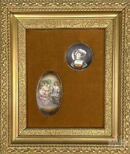 Antique Mini Portrait & Group Figural Porcelain Plaques Gold Wood Frame # 2 LHB