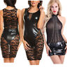 Women Wet Look Leather Lace Sleeveless Mini Clubwear Dress Evening Party Bodycon