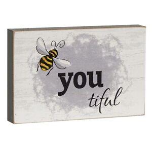 Bee-You-Tiful Wooden Mini Block Sign