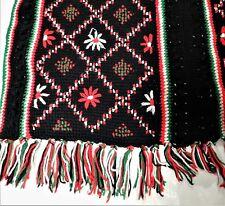 Black Handmade Crochet Afghan Holiday Christmas Poinsettia FLowers Boho
