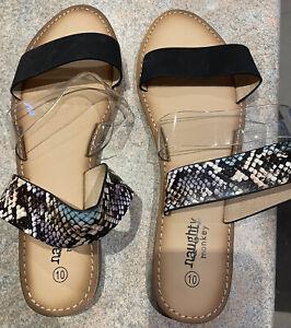 Ladies 10 NAUGHTY MONKEY Snakeskin Clear Black slipon RopeSandals Shoes. As New