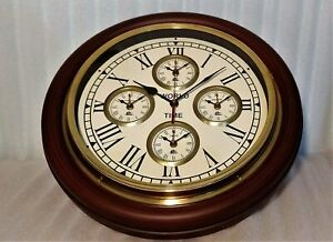 Antique Nautical Round Wall Clock Steel Five Country 16 inches Time Style Wooden