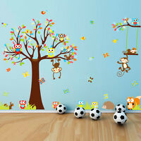 Baby Wall Decals Bedroom Tree Owl Nursery Stickers Art Room-Decor Removable Home