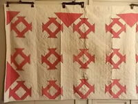 """Antique Quilt Red & White Barn Door Pattern 42"""" x 73"""" Signed and Dated 1882"""