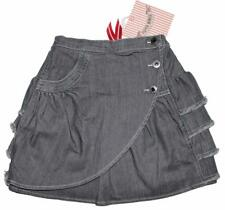PAPER WINGS Grey Denim Wrap Bustle Ruffle Skirt Vintage Inspired ~ Size 6 NWT ls