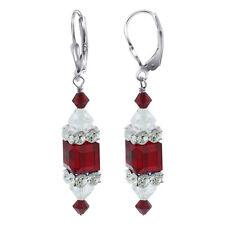 "925 Silver Swarovski Elements 8mm Cube Red Crystal 1.3"" Dangle Earrings"