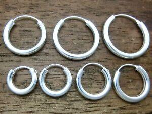 2 Stück Creolen 925 Echt Silber Ohrringe Dicke 2 mm Ø 10,12,14,16,18,20,22,25mm